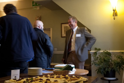 Owner David Viccars enjoys a joke with DNPA's Mike Nendick