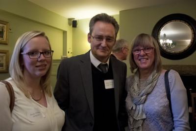 Magazine designer Emily Kingston with Grant Harrison and Susie Walker of Zara Media