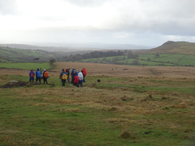 On the Eylesbarrow track: Sheeps Tor in the distance
