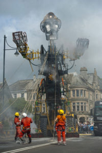 PICTURE BY MIKE THOMAS 25/07/2016. PICTURES FREE TO USE....PICTURES FREE TO USE. PICTURED THE MAN ENGINE PICTURED IN TAVISTOCK SQUARE DEVON.THE MAN ENGINE WHICH IS TOURING FROM DEVON TO PENZANCE IS THE BIGGEST PUPPET IN BRITAIN.